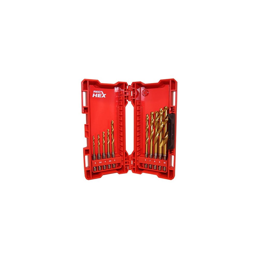 Cassetta punte al titanio SHOCKWAVE REDHEX HSS-G 10pz per metallo