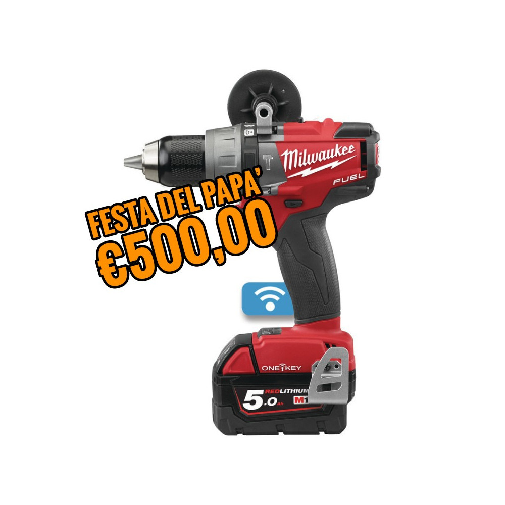 Trapano Avvitatore con Percussione M18 FUEL ONE-KEY M18ONEPD-502X 5AH Milwaukee