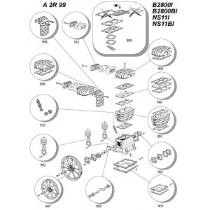 Kit Biella Pistone  per Gruppi Pompanti Abac  B2800I - B2800BI / Balma NS11I - NS11BI