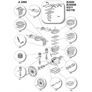 Kit Filtro Aria per Gruppi Pompanti B2800 - B2800I - B3800 - NS11 - NS11I - NS18  ABAC BALMA