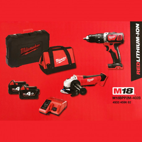 Milwaukee 18V M18 BPP2M-402B kit M18 BPD Percussion drill +HD18 AG 115 grinder + 2 4AH Batteries