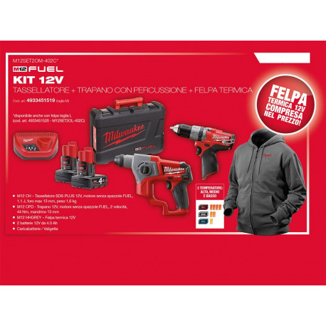 Milwaukee KIT 12 V M12 CH Hammer drill + M 12 CPD Percussion drill + M12 HHGREY Milwaukee Heated Hoodie