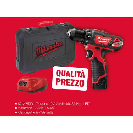 Milwaukee M12BDD-202C Compact drill driver offer