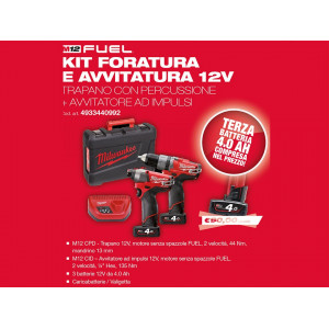 Kit 12v Trapano con percussione M12 CPD + Avvitatore ad impulsi M12 CID Milwaukee + Batteria Omaggio