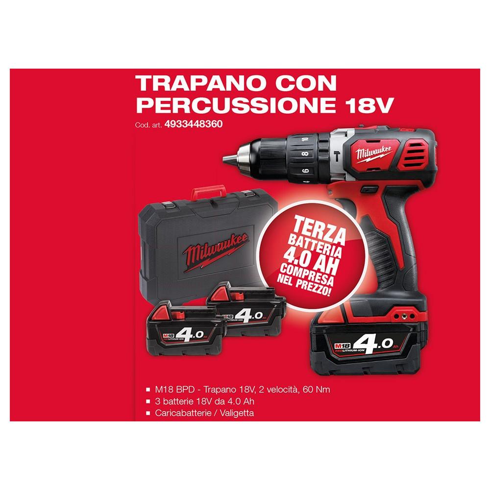 Trapano Con Percussione M18 BPD-403C Milwaukee + Terza Batteria M18 - 4 Ah