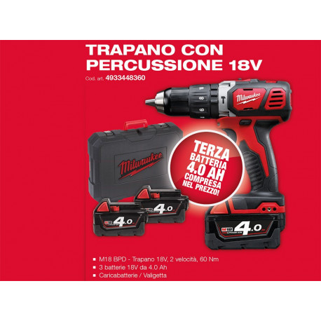Milwaukee M18 BPD-403C Percussion drill + M18 4 AH battery included
