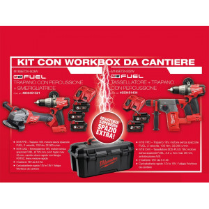 Kit 18v M18SET2V-503W Trapano con percussione M18 FPD + Smerigliatrice M18 CAG Milwaukee + Terza Batteria M18 - 5 Ah