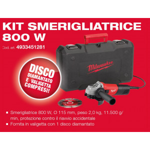 Kit Smerigliatrice Angolare AG800/115 D-Set Milwaukee