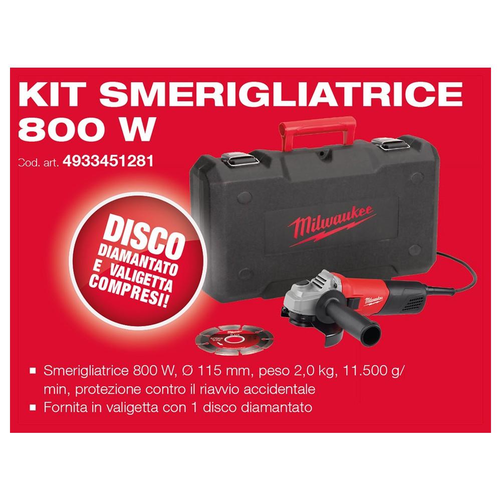 Kit Smerigliatrice Angolare AG800/115 D-Set Milwaukee