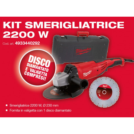 Milwaukee AG22-230 D-Set Angle grinder kit
