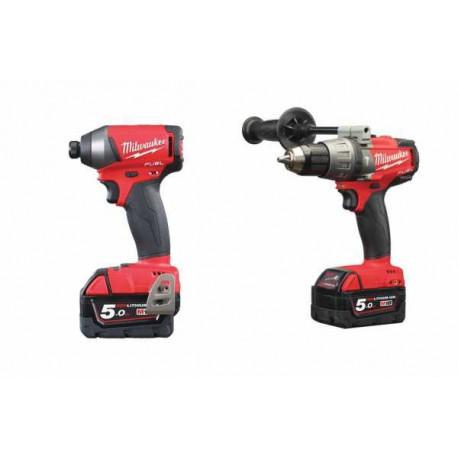 Milwaukee M18seto-504x Fuel Kit - M18fpd-502x Fuel drill + M18 Fid pulse driver + 4 5AH batteries