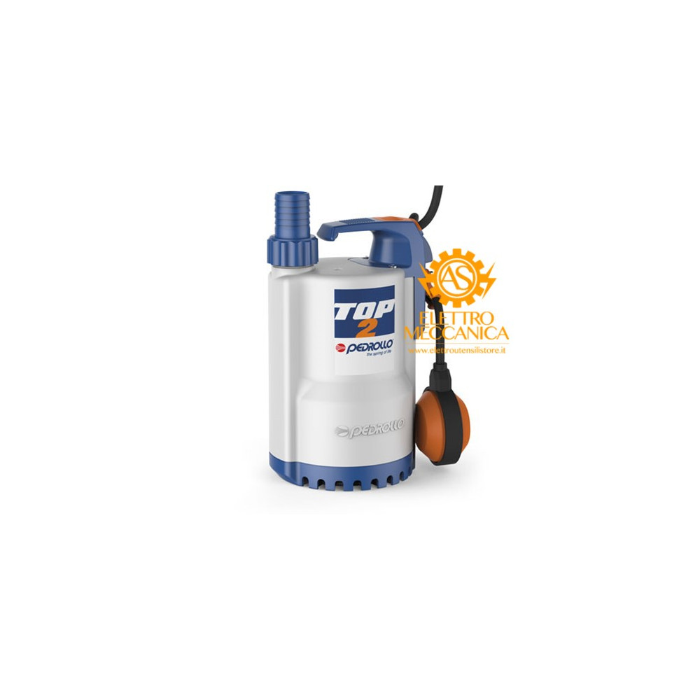 Elettropompa Sommergibile DRENAGGIO acque chiare Monofase 0.37KW 0.50HP TOP 2 Pedrollo cavo 5mt