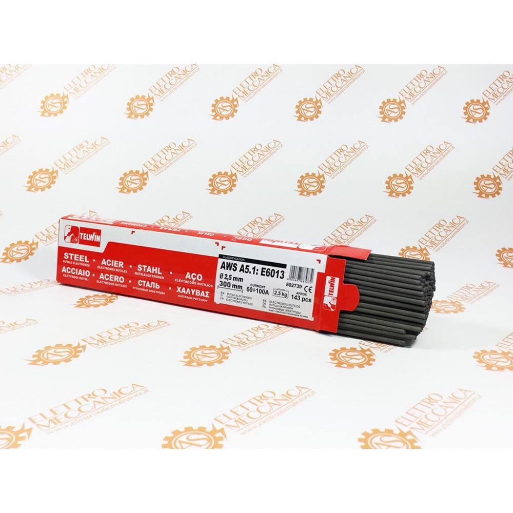 Elettrodi saldatura d. 2.5 x 300mm rutili acciaio 2.5kg 143pz Telwin cod. 802739