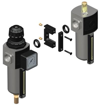 Gruppo filtro-regolatore e lubrificatore modulare con bicchiere metallico
