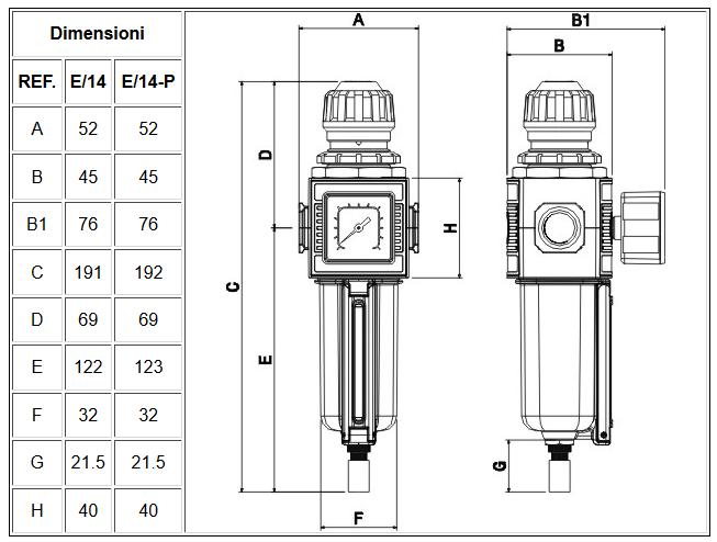 Filtro regolatore di pressione modulare con bicchiere in tecnopolimero E/14
